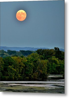Supermoon On The Mississippi Metal Print