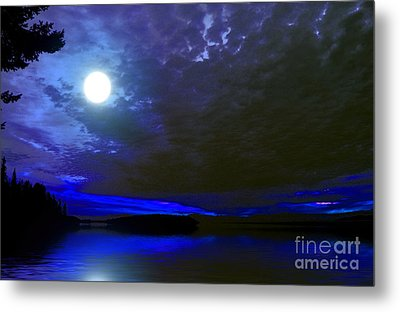 Supermoon Over Lake Metal Print