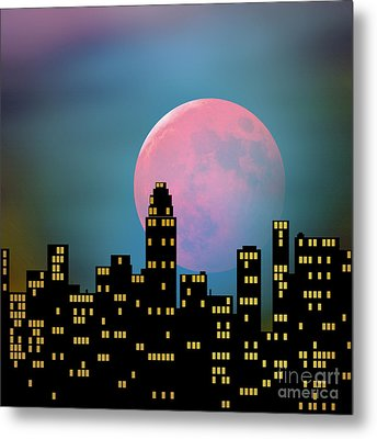 Supermoon Over The City Metal Print