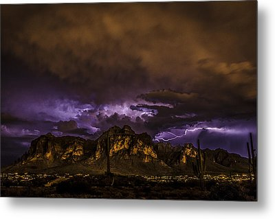 Superstition Lightning Metal Print by Chuck Brown