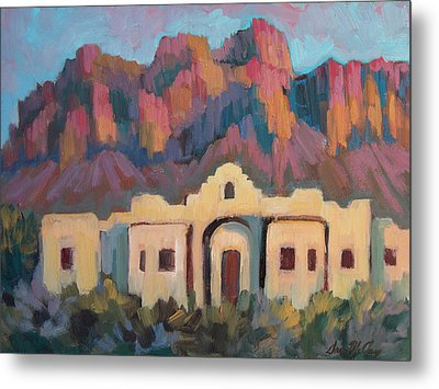 Metal Print featuring the painting Superstition Mountain Evening by Diane McClary