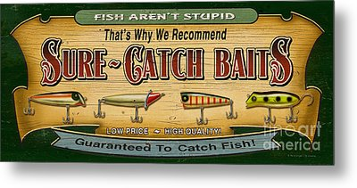 Sure Catch Baits Sign Metal Print by Jon Q Wright