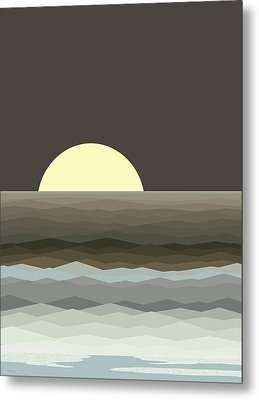 Surf At Moonrise Metal Print