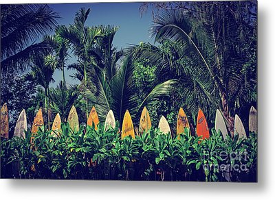 Metal Print featuring the photograph Surf Board Fence Maui Hawaii Vintage by Edward Fielding