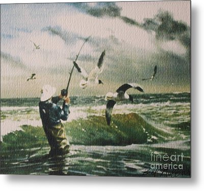 Surf Casting For Striped Bass At Gull Rock Metal Print