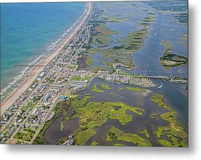 Surf City Topsail Island Aerial Metal Print by Betsy Knapp