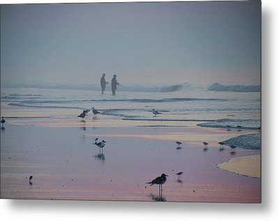 Metal Print featuring the photograph Surf Fishing In Wildwood by Bill Cannon