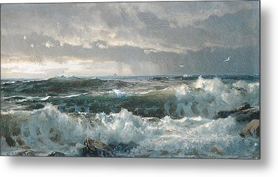 Surf On The Rocks Metal Print by  Newwwman