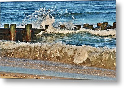 Surf Stir - Jersey Shore Metal Print by Angie Tirado