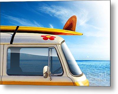 Surf Van Metal Print by Carlos Caetano