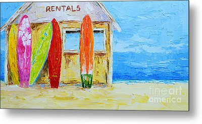 Surf Board Rental Shack At The Beach - Modern Impressionist Palette Knife Work Metal Print