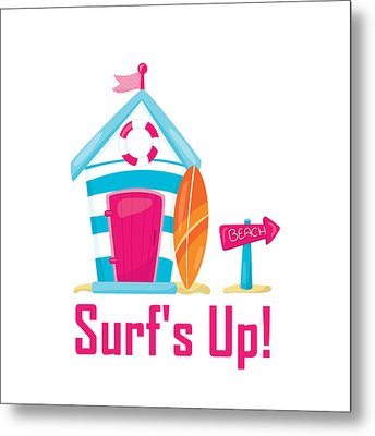 Surfer Art - Surf's Up Cabana House To The Beach Metal Print