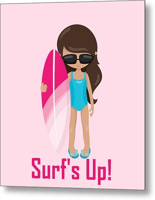 Surfer Art Surf's Up Girl With Surfboard #18 Metal Print