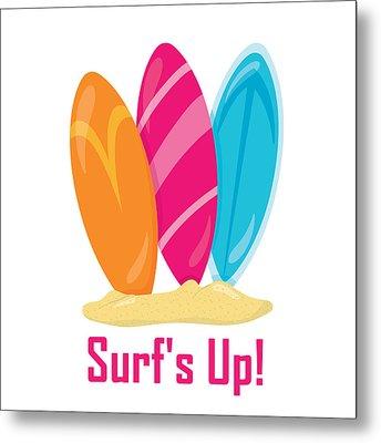 Surfer Art - Surf's Up Surfboards Metal Print
