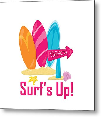 Surfer Art - Surf's Up To The Beach With Surfboards Metal Print