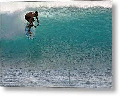 Surfer Dropping In The Blue Waves At Dumps Maui Hawaii Metal Print by Pierre Leclerc Photography