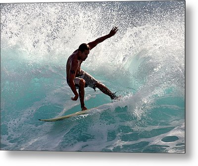 Surfer Slashing The Blue Waves At Dumps Maui Hawaii Metal Print by Pierre Leclerc Photography
