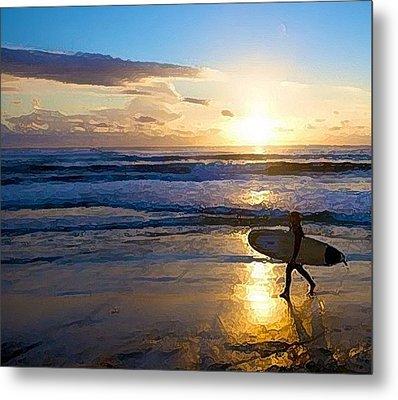 Surfer Sunset Metal Print by Deborah Rosier