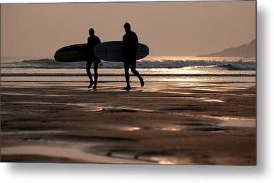 Surfers At Sunset Metal Print