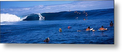 Surfers In The Sea, Tahiti, French Metal Print by Panoramic Images