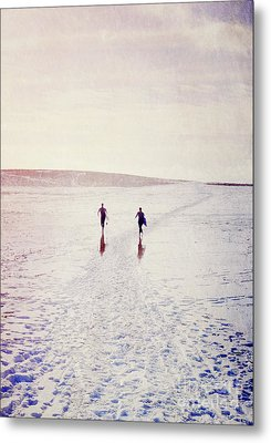 Surfers In The Snow Metal Print