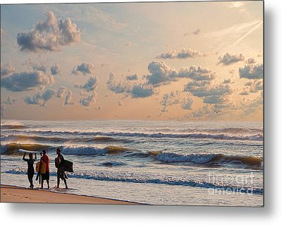 Surfing At Sunrise On The Jersey Shore Metal Print
