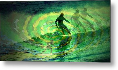 Surfing For The Gold Abstract Metal Print by Joyce Dickens