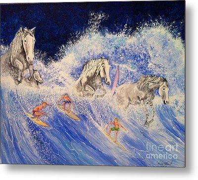 Surfing Horses Metal Print