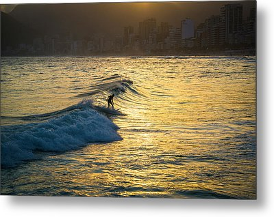 Surfing In Rio Metal Print by Lana Enderle