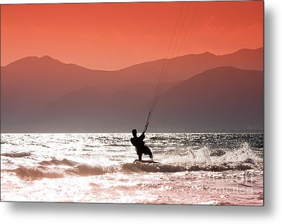 Surfing Into The Sunset Metal Print by Gabriela Insuratelu