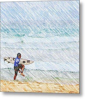 Surfer In Aus Metal Print by Daisuke Kondo