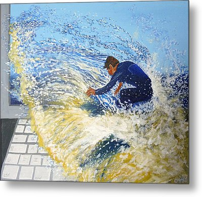 Surfing The Net Metal Print by Bill Ogg