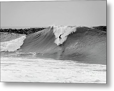 Metal Print featuring the photograph Surf's Up Bw by Eddie Yerkish