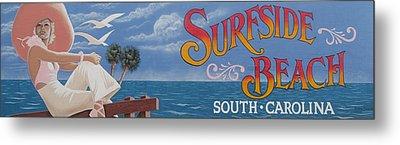 Surfside Beach Sign Metal Print by Barbara McDevitt