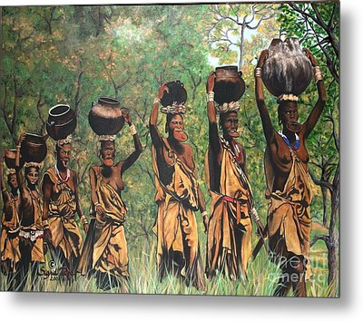 Metal Print featuring the painting Surma Women Of Africa by Sigrid Tune
