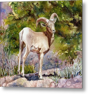 Metal Print featuring the painting Surprised On The Trail by Anne Gifford