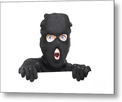 Surprised Robber Holding Blank Security Sign Metal Print