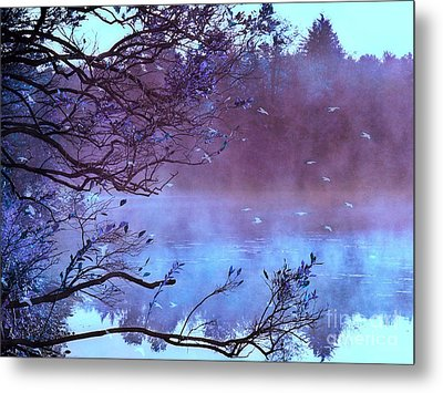 Surreal Fantasy Purple Fall Autumn Nature Scene Metal Print by Kathy Fornal