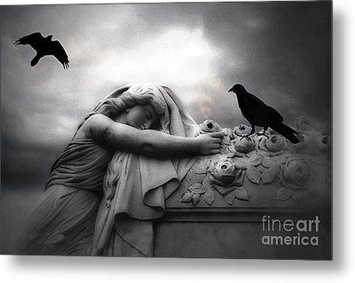 Surreal Gothic Cemetery Angel Mourning Figure With Black Ravens  Metal Print by Kathy Fornal