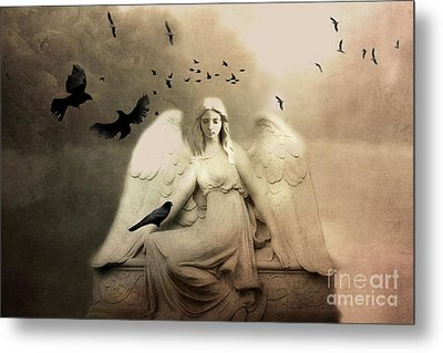 Surreal Gothic Cemetery Angel With Flying Ravens - Ethereal Surreal Gothic Angel Art Metal Print by Kathy Fornal