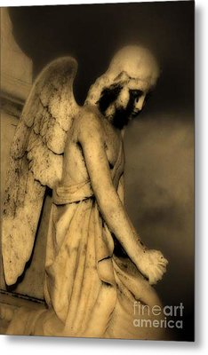 Surreal Gothic Dark Cemetery Angel With Black Face Metal Print by Kathy Fornal