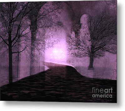 Surreal Purple Fantasy Nature Path Trees Landscape  Metal Print by Kathy Fornal