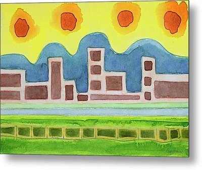 Surreal Simplified Cityscape  Metal Print by Heidi Capitaine