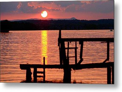 Surreal Smith Mountain Lake Dockside Sunset 2 Metal Print
