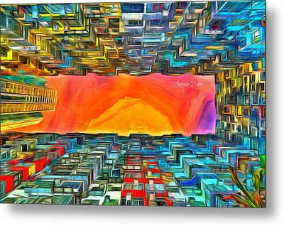 Surrounded By Buildings - Da Metal Print