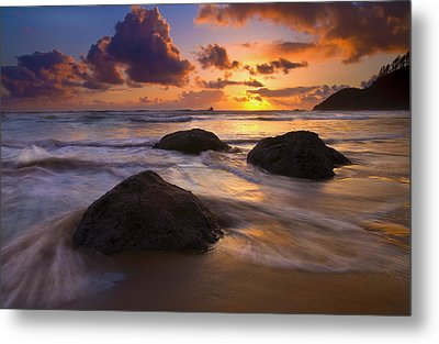Surrounded By The Sea Metal Print by Mike  Dawson