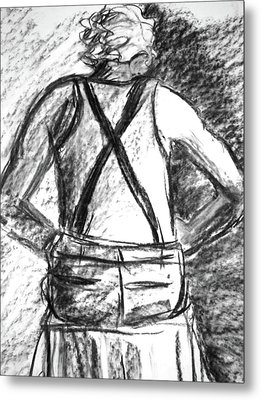 Metal Print featuring the painting Suspenders by Cathie Richardson