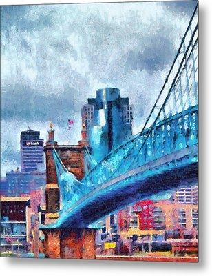 Suspension Bridge And Cincinnati Metal Print