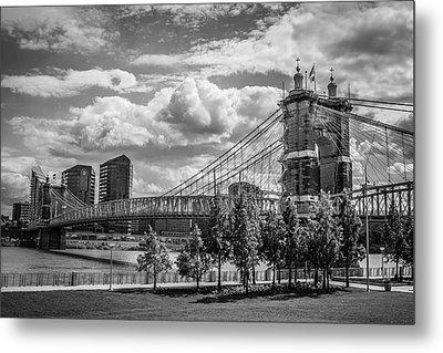Suspension Bridge Black And White Metal Print by Scott Meyer