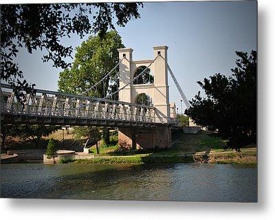 Suspension Bridge-waco Texas Metal Print
